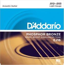 Cordes pour Guitare Acoustique - ADDARIO EJ16 String Set for Acoustic Guitar - Light 12-16-24-32-42-53 - Accessoire - di-arezzo.com