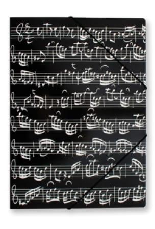 Chemise cartonnée avec élastique - NOIRE - Notes de musique - laflutedepan.com