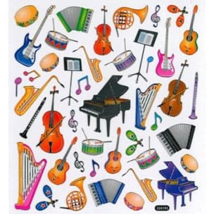 Stickers instruments et notes de musique laflutedepan