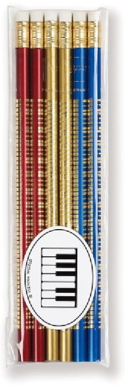 Set de 6 crayons colorés - CLAVIER DE PIANO laflutedepan