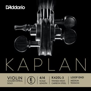 Corde seule : MI Violon KAPLAN GOLDEN SPIRAL solo à boucle - Tirant MOYEN laflutedepan