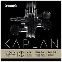 Corde seule : MI Violon KAPLAN GOLDEN SPIRAL solo à boule - Tirant MOYEN laflutedepan