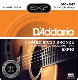 Cordes pour Guitare Acoustique - SET of 6 ADDARIO EXP10NY Strings - Super Light 10-47 - FOLK GUITAR - Accessoire - di-arezzo.com