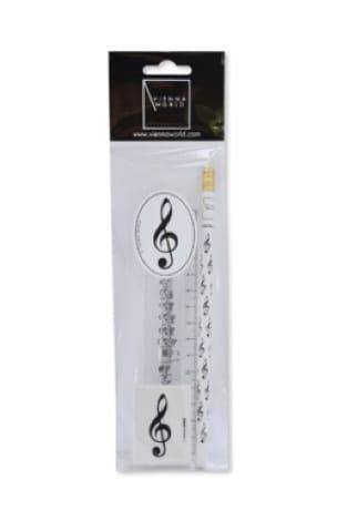 Set de Papeterie Musicale - Clé de SOL : Crayon, Gomme et Règle - laflutedepan.com