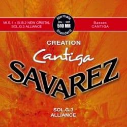 JEU de Cordes pour Guitare SAVAREZ CANTIGA CREATION ROUGE tirant standard laflutedepan