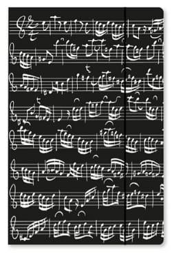 Grande chemise cartonnée avec élastique - NOIRE - Notes de musique laflutedepan