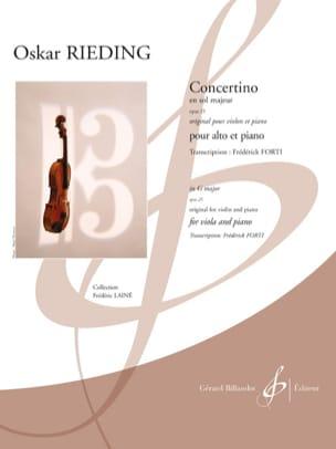 Oscar Rieding - Concertino, Opus 25 - Viola and Piano - Partition - di-arezzo.com