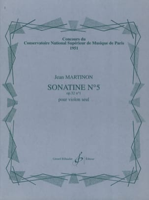 Sonatine N° 5 Op. 32 N° 1 Jean Martinon Partition laflutedepan