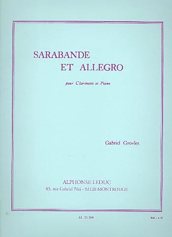 Sarabande et Allegro - Clarinette - Gabriel Grovlez - laflutedepan.com