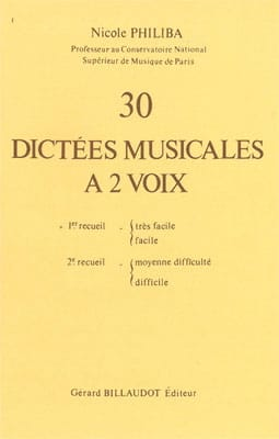 30 Dictées musicales à 2 voix - Volume 1 Nicole Philiba laflutedepan