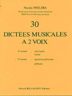 30 Dictées musicales à 2 voix - Volume 2 Nicole Philiba laflutedepan