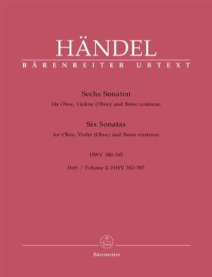 6 Sonaten HWV 380-385 - Heft 2 : 382-383 - Oboe Violine Oboe u. Bc laflutedepan