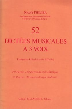 52 Dictées musicales à 3 voix Nicole Philiba Partition laflutedepan
