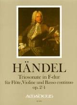 Sonate en Trio en Fa Majeur Opus 2 N° 4 HAENDEL Partition laflutedepan