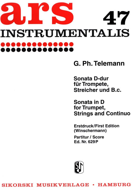 Sonate D-Dur für Trompete Streicher und Bc - Partitur - laflutedepan.com