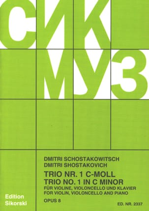 Trio Nr. 1 op. 8 - Stimmen CHOSTAKOVITCH Partition laflutedepan
