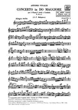 Concerto en Do Maj. - F. 6 n° 2 - Matériel VIVALDI laflutedepan