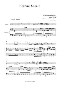 6ème Sonate Op.71 N°3 - DEVIENNE - Partition - laflutedepan.com