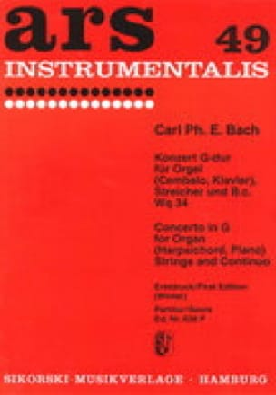 Konzert G-Dur Wq 34- Orgel Streicher Bc - laflutedepan.com