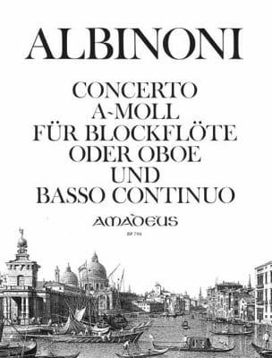 Concerto a-moll - Blockflöte o. Oboe u. Bc ALBINONI laflutedepan