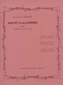 Récit et Allegro Robert Clérisse Partition Clarinette - laflutedepan