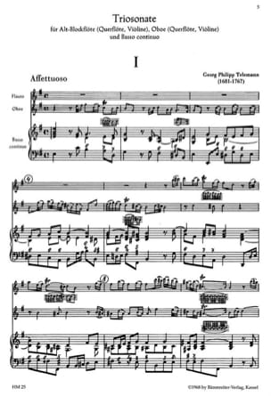 Triosonate h-moll op. 3 n° 3 - 2 Flöten Oboen/Violinen BC laflutedepan