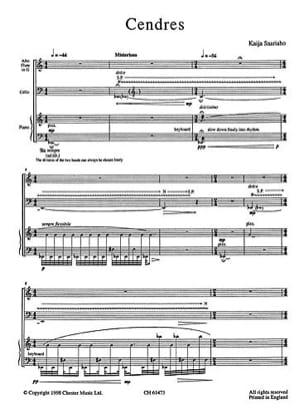 Cendres - Score & Parts Kaija Saariaho Partition Trios - laflutedepan