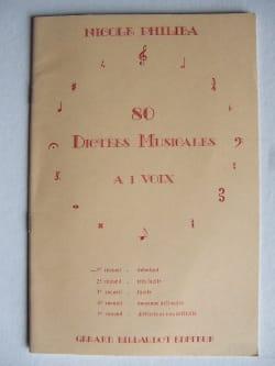 80 Dictées musicales à 1 voix - Volume 1 Nicole Philiba laflutedepan