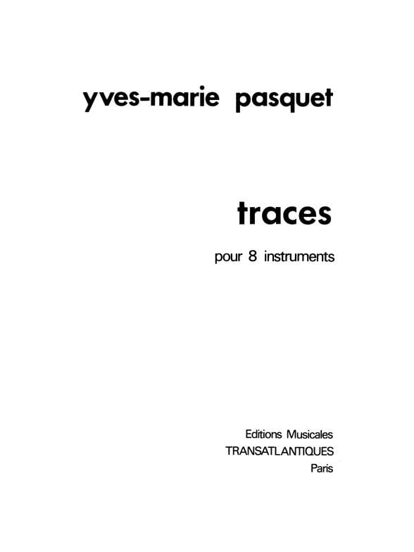 Traces - Yves-Marie Pasquet - Partition - laflutedepan.com