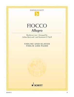 Allegro Joseph Hector Fiocco Partition Violon - laflutedepan