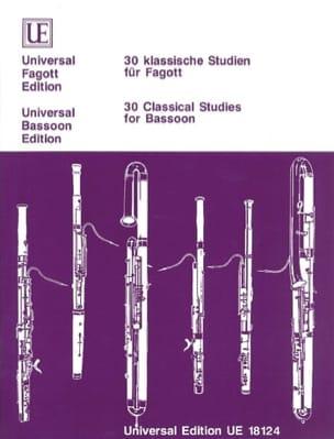 30 klassische Studien für Fagott Partition Basson - laflutedepan