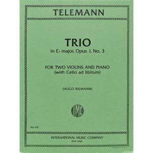 Trio E flat major op. 1 n° 3 TELEMANN Partition Trios - laflutedepan