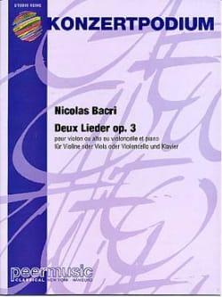 2 Lieder op. 3 Nicolas Bacri Partition Violon - laflutedepan