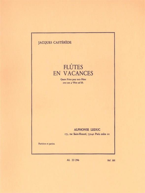 Flutes en Vacances - Jacques Castérède - Partition - laflutedepan.com