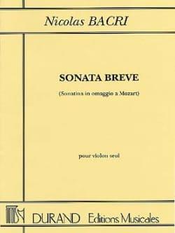 Sonata Breve op. 45 Nicolas Bacri Partition Violon - laflutedepan