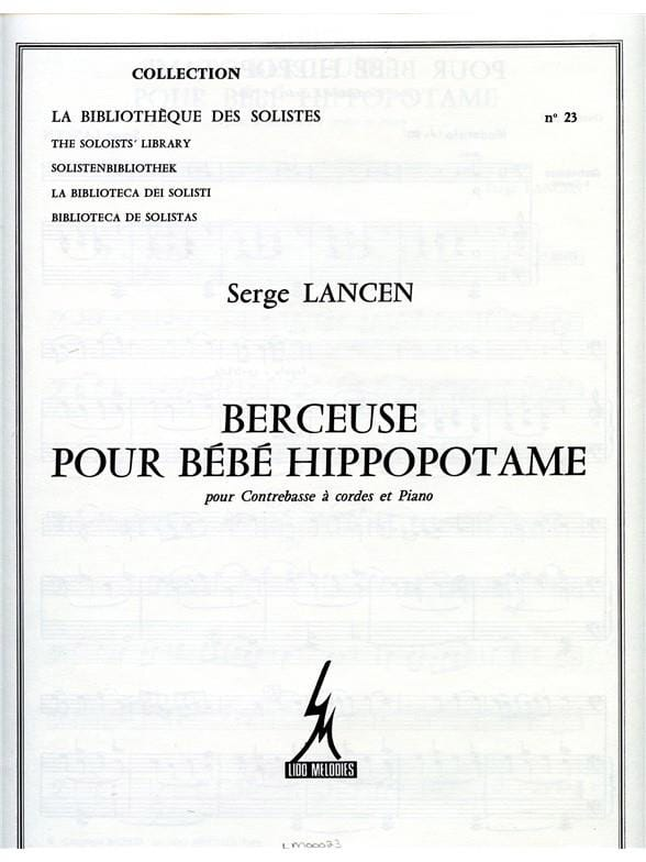 Berceuse pour bébé hippopotame - Serge Lancen - laflutedepan.com