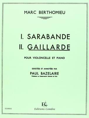 Gaillarde Marc Berthomieu Partition Violoncelle - laflutedepan