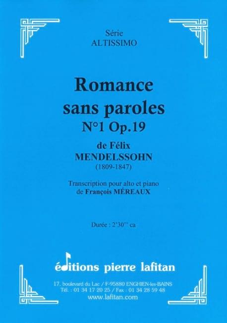 Romance sans parole op 19 n°1 - laflutedepan.com