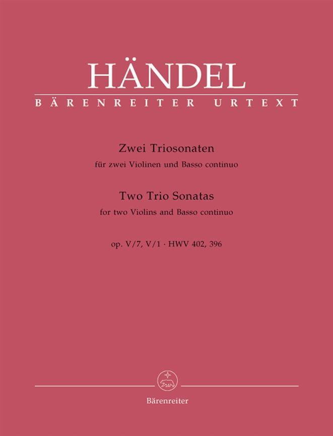 2 Triosonaten op. 5 n° 1 und 7 HWV 402, 396 -Stimmen - laflutedepan.com