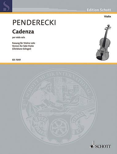 Cadenza - Violin - PENDERECKI - Partition - Violon - laflutedepan.com
