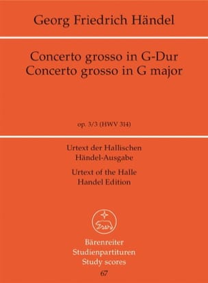 Concerto Grosso Sol majeur HAENDEL Partition laflutedepan