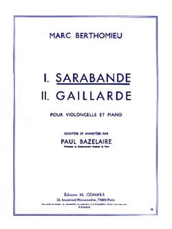 Sarabande Marc Berthomieu Partition Violoncelle - laflutedepan