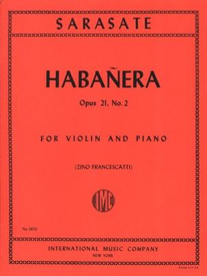 Habanera op. 21 n° 2 SARASATE Partition Violon - laflutedepan