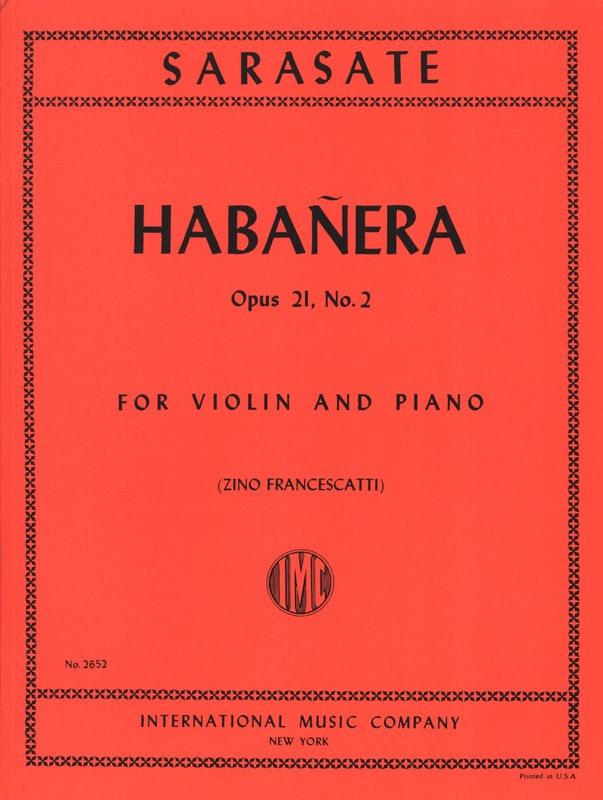 Habanera op. 21 n° 2 - SARASATE - Partition - laflutedepan.com