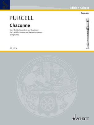 Chaconne - 2 Flûtes A Bec Alto-Clavier PURCELL Partition laflutedepan