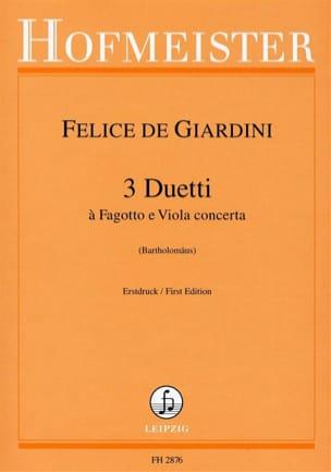 3 Duos - Basson et Alto Felice de Giardini Partition laflutedepan
