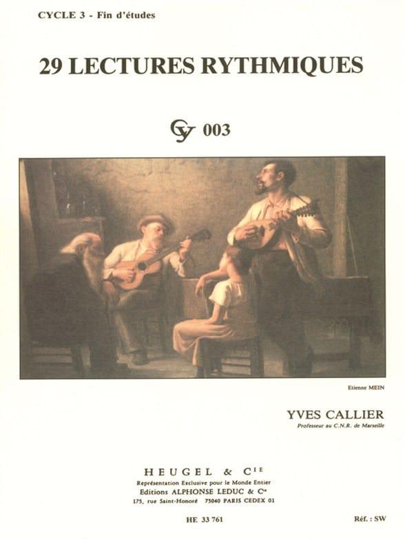 29 Lectures rythmiques - Yves Callier - Partition - laflutedepan.com
