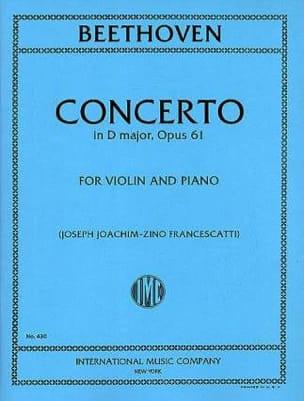 Concerto in D major, op. 61 - Violin BEETHOVEN Partition laflutedepan