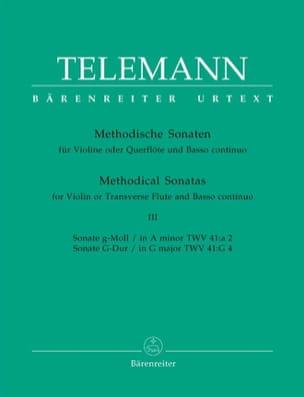 TELEMANN - 12 Methodische Sonaten - Bd. 3 - Flute Violine u. Bc - Partition - di-arezzo.co.uk