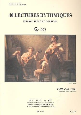 40 Lectures rythmiques - Yves Callier - Partition - laflutedepan.com